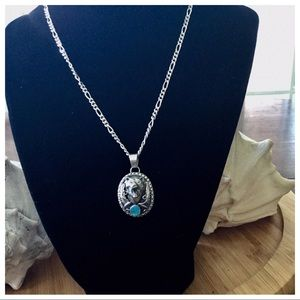 Vintage Sterling Silver Turquoise Bear Necklace